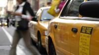 A yellow cab / taxi in Manhattan