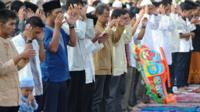 Indonesian Muslims hold Eid al-Fitr prayers in Cianjur, West Java on August 8, 2013