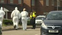 Officers at the scene in Newport