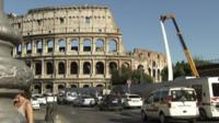 Traffic approaching the Colosseum