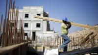 Construction worker on Israeli settlement