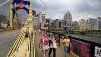 People ion the bridge