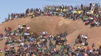 Hundreds of people gathered on the hill at Marikana where 34 miners were killed last year