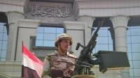 Egyptian soldier with automatic weapon