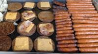 Sausages, bacon and burgers