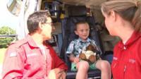 Kye Sharrad with air ambulance crew