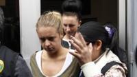 Melissa Reid and Michaella McCollum leaving court
