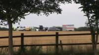 The crash scene in Wymeswold
