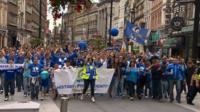 Bluebirds march in the city centre