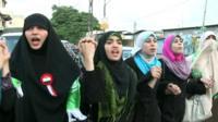 Women marching in Gaza