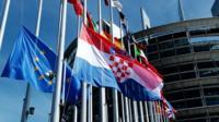EU and Croatian flags in Strasbourg, 1 Jul 13