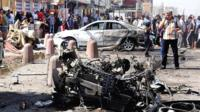 Car wreckage in Sadr City