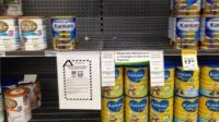 Supermarket shelf in Wellington where Fonterra infant formula has been removed