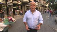 Jeremy Bowen in a Damascus street
