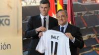 Gareth Bale and Florentino Perez, holding Bale's new Real Madrid shirt