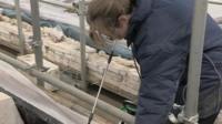 Conservation work on Must Farm boats at Flag Fen