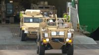 A fleet of 94 army vehicles returned to the UK from Afghanistan at Marchwood