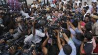 A.P. Singh, defence lawyer for one of the four men who were found guilty of the fatal gang-rape of a young woman on a bus in New Delhi, speaks with the media.