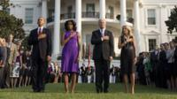 President Obama and his wife Michelle, together with Vice-President Joe Biden and his wife Jill, pause for silence on the September 11th anniversary