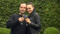 Stuart Hunt and Nicky Martin with champagne glasses