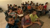 Students at al-Mothana Bin Haretha School in Irbid, Jordan