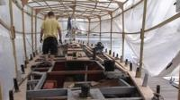 A boat being restored
