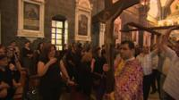 Christians in Greek Orthodox church in Damascus