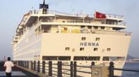 The detained Chinese cruise Henna docked at Jeju port, South Korea
