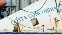The bow of the wreckage of the Costa Concordia