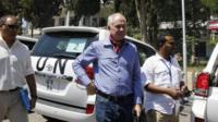 Ake Sellstrom (centre), the head of a UN chemical weapons team in Damascus. Photo: 30 August 2013