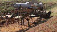 Rocket launcher at al-Sahwa military base