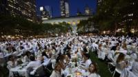 Diners attend the picnic in New York's Bryant Park