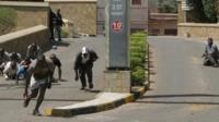 Gun battle the Westgate Mall, an upscale shopping mall in Nairobi, Kenya Saturday Sept. 21 2013