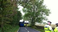 Scene of the school bus crash on the A685 in Kendal, Cumbria