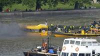 Rescue teams at scene of boat fire