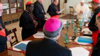 Pope Francis holds talks with a special group of cardinals
