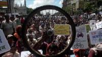 Hundreds of cyclists in Calcutta protest against a ban on bikes on main roads
