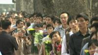 People lining up to pay homage to General Giap in Hanoi, Vietnam, 6 October
