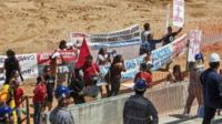 Protesters in Arena Pantanal stadium