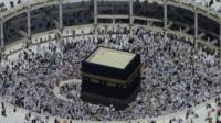 Muslim pilgrims circle the Kaaba in the Grand Mosque in the Muslim holy city of Mecca, Saudi Arabia.