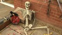 Skeleton outside the Stevenage house decorated for Halloween