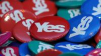 Yes badges at SNP conference
