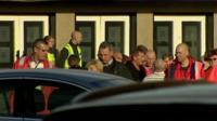 Grangemouth workers leaving meeting