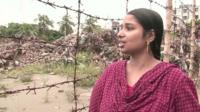 Rikta Begum outside the site of the collapsed building