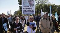 Demonstrators protesting against US surveillance