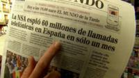 """A copy of the Spanish newspaper """"El Mundo"""", reporting on the US-Europe spy claims"""