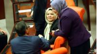 MPs wearing headscarves in Turkish parliament