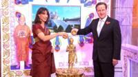 Samantha and David Cameron at the Swaminarayan Temple in Neasden, London