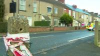 The house in North Wingfield cordoned off by police