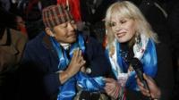 Gurkha veteran Gyanraj Raj and actress Joanna Lumley